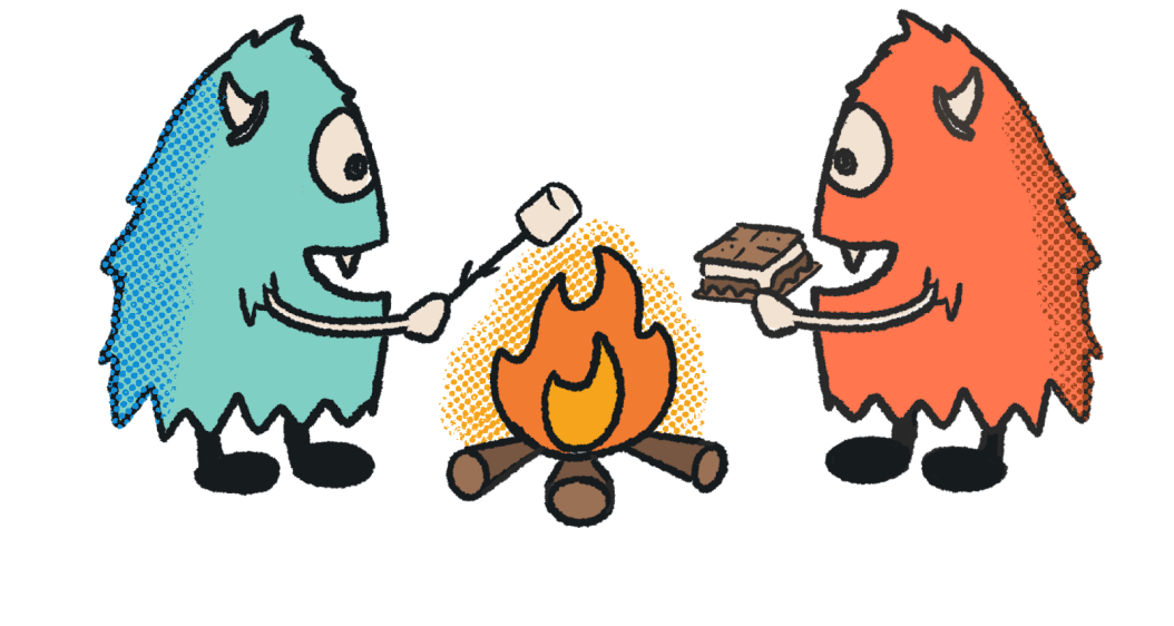A pair of cyclopses roasting smores