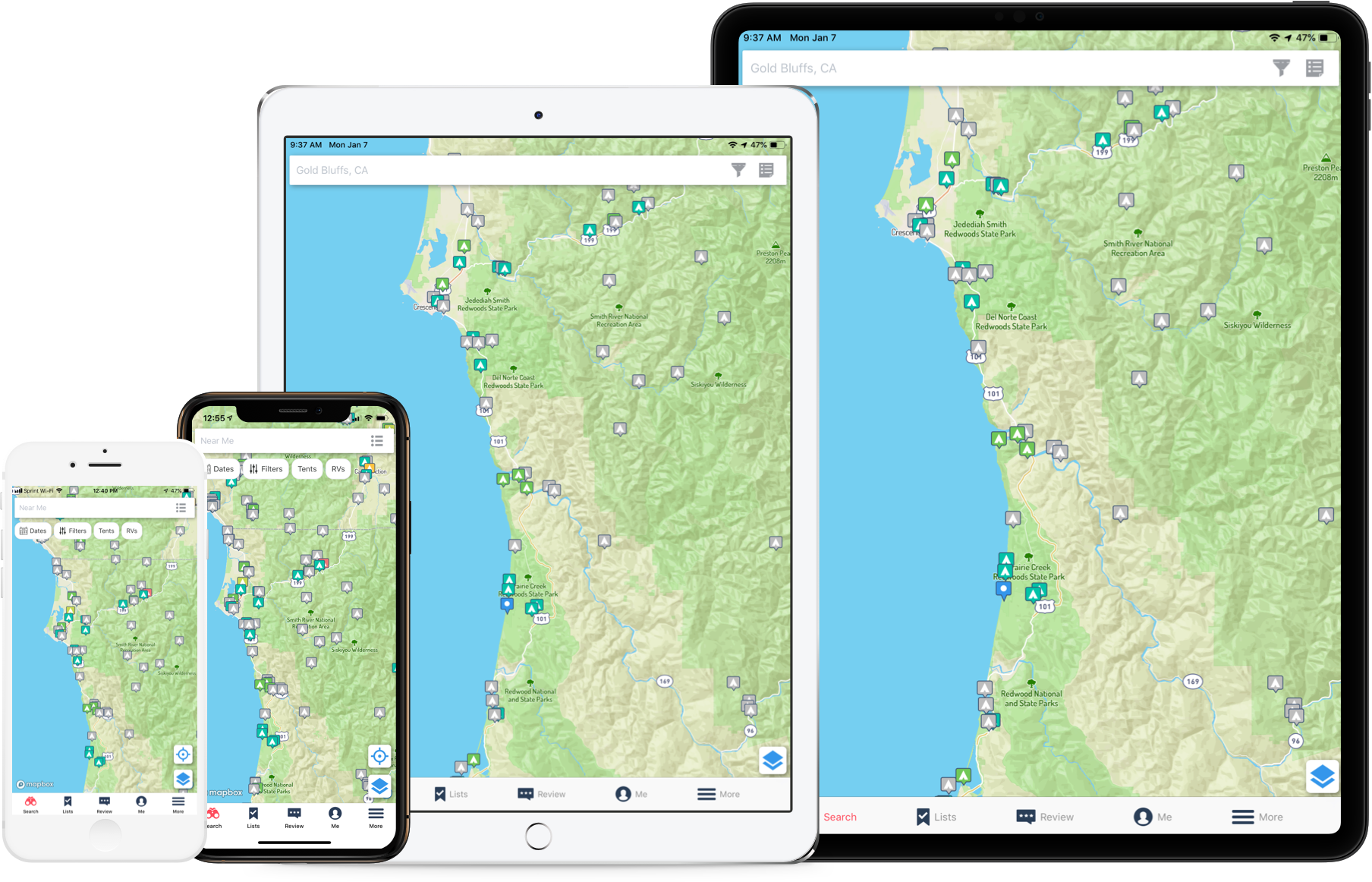 Tablets and phones showing campground search on The Dyrt