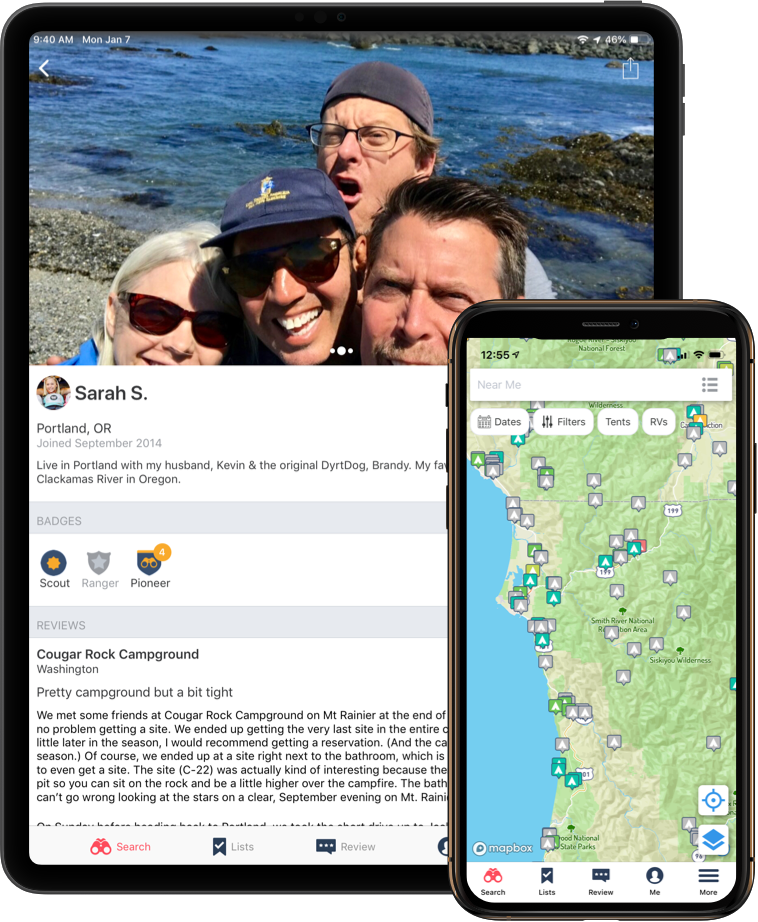 Tablet and phone showing campground reviews on The Dyrt