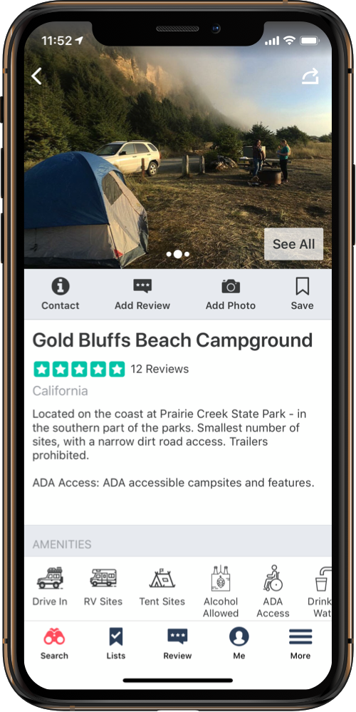 Phone showing campground amenities on The Dyrt