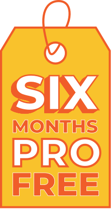 An orange gift tag with the words 'Six Months PRO free' on it.