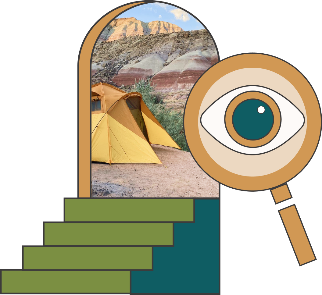 A magnifying glass with an eye over a doorway with stairs leading up to a magical passageway. Through the passage, there is a tent with beautiful canyons in the background.