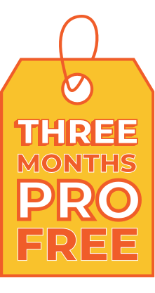 An orange gift tag with the words 'Three Months PRO free' on it.