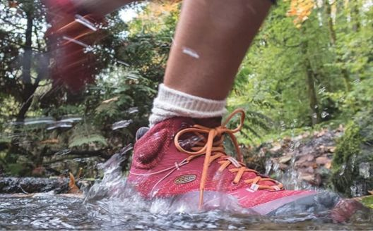 Pink hiking shoes splash in the water.