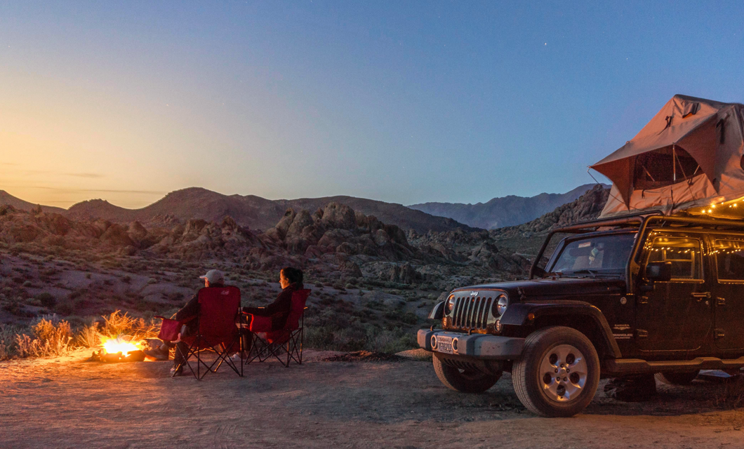 A Jeep during sunset.