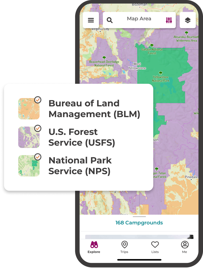 Customize you map with overlays for BLM, USFS, and NPS.