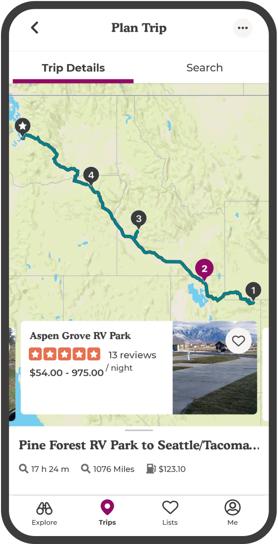 Plan a trip with The Dyrt Pro trip planner.